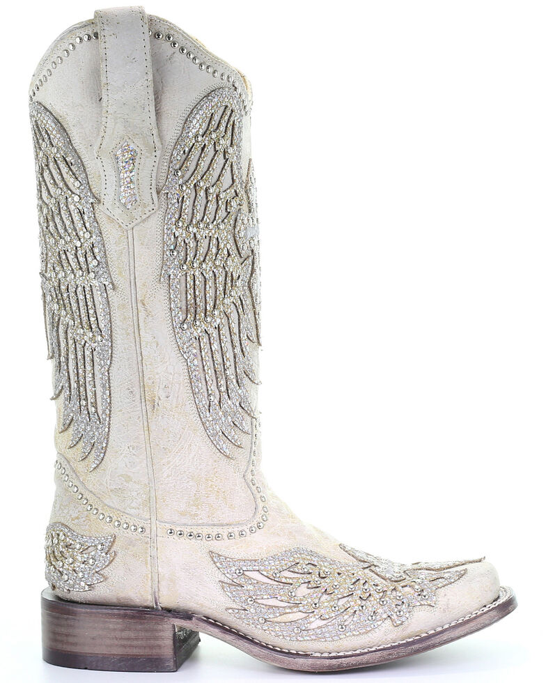 4da15c9bfd0 Zoomed Image Corral Women's White Cross & Wings Western Boots - Square Toe,  White, hi-