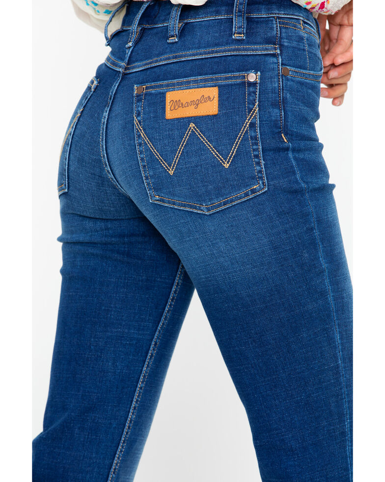 Wrangler Women's Modern High Rise Step Hem Jeans  , Dark Blue, hi-res