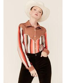Ranch Dress'n Women's Tan Serape Stripe Long Sleeve Button-Down Western Shirt, Tan, hi-res