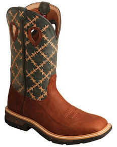 Twisted X Men's Barbed Wire Western Work Boots - Soft Toe, Brown, hi-res