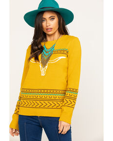 Cotton & Rye Outfitters Women's Mustard Steerhead Sweater , Dark Yellow, hi-res