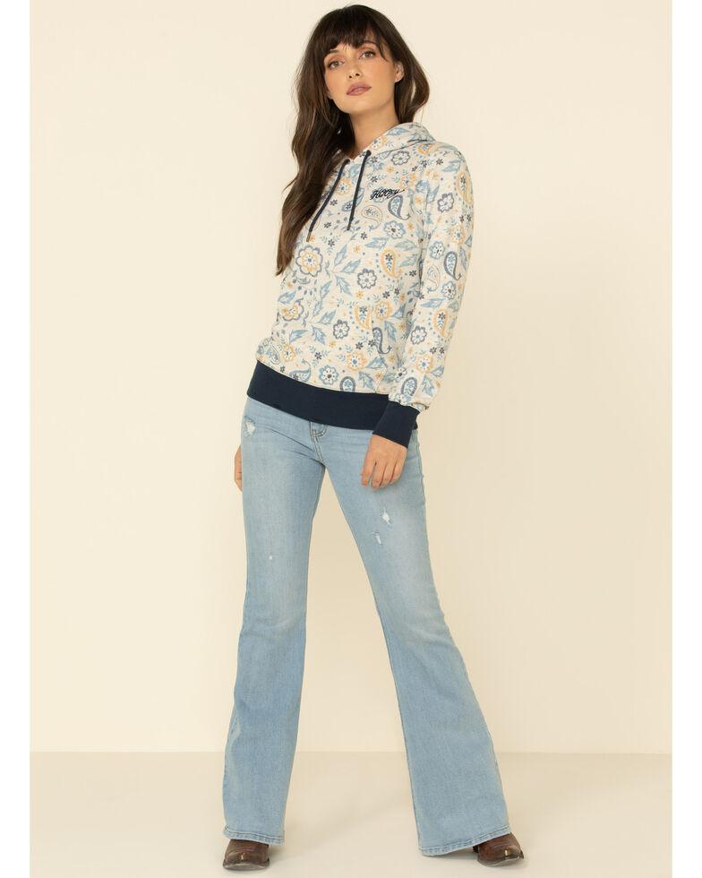 HOOey Women's Cream Paisley Hoodie Sweatshirt, Cream, hi-res