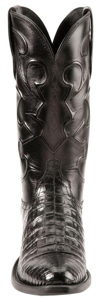 Lucchese Handmade 1883 Black Crocodile Belly Cowboy Boots - Medium Toe, Black, hi-res