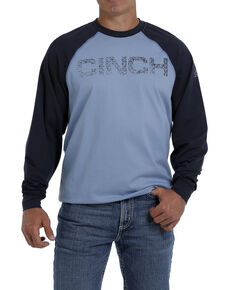 Cinch Men's FR Blue Raglan Stretch Long Sleeve Work Shirt, Blue, hi-res