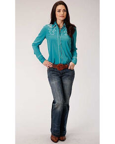 Studio West Women's Turquoise Floral Scroll Embroidered Long Sleeve Western Shirt, Turquoise, hi-res