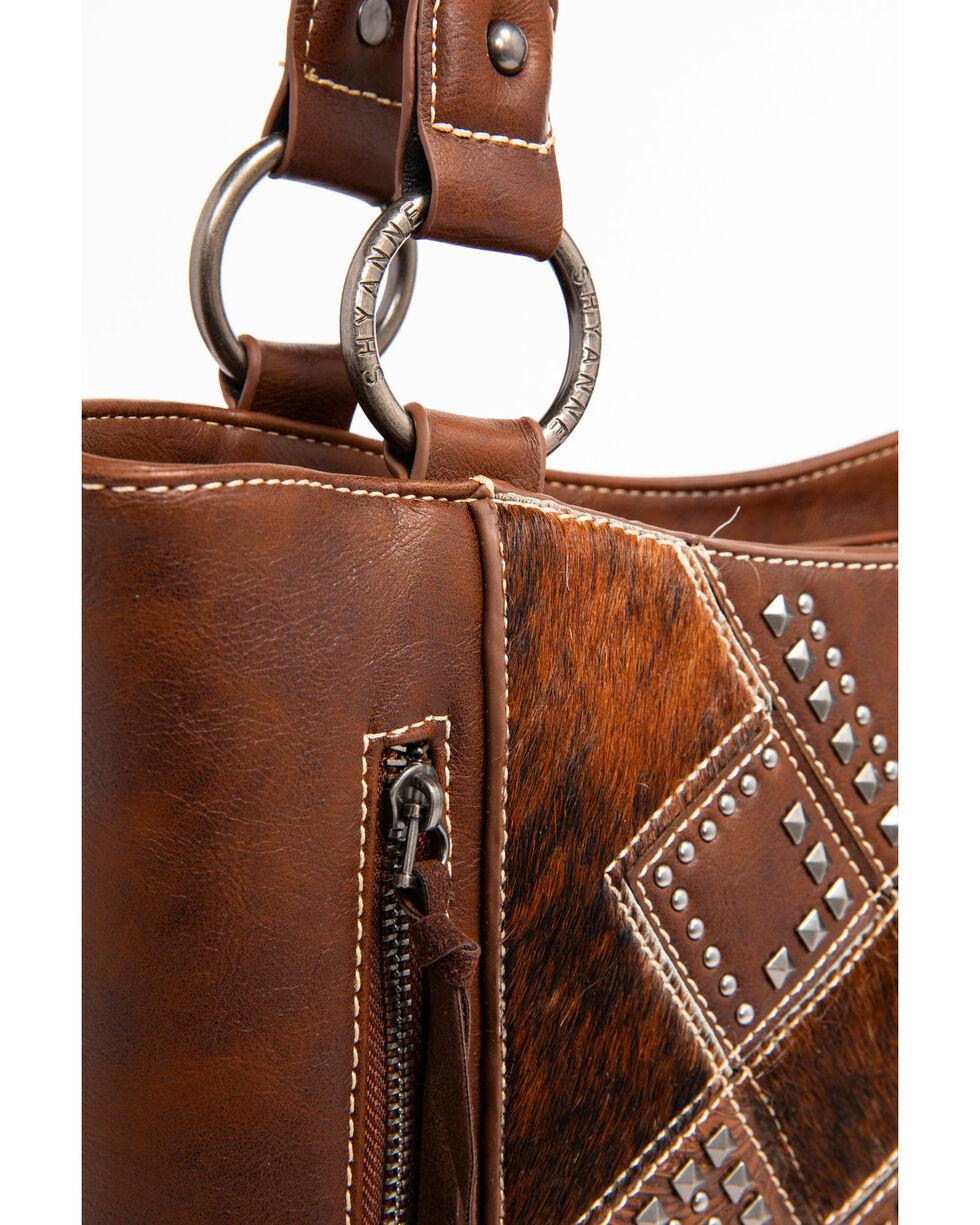 Shyanne Women's Tooled Hair-On Calf Patchwork Concealed Handgun Tote Bag, Dark Brown, hi-res