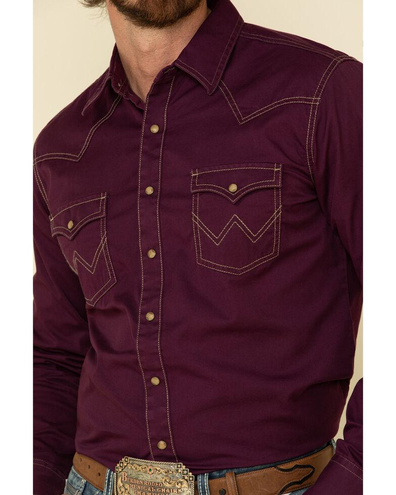 Wrangler Retro Premium Men's Purple Solid Long Sleeve Western Shirt , Purple, hi-res