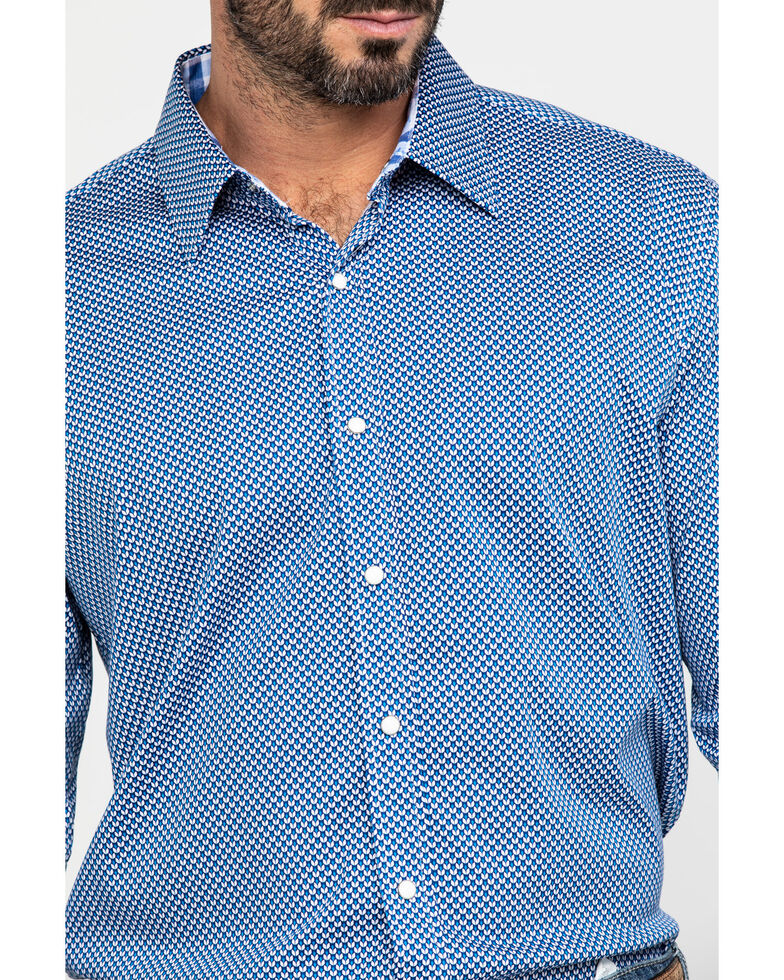 Scully Signature Soft Series Men's Geo Print Long Sleeve Western Shirt , Blue, hi-res