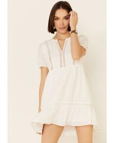 Very J Women's White Lace Trim Dress, White, hi-res
