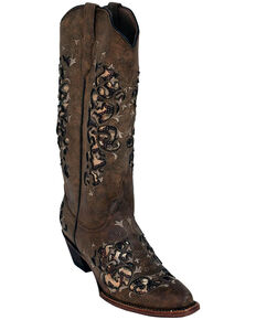Ferrini Women's Dazzle Mocha Western Boots - Snip Toe, Brown, hi-res