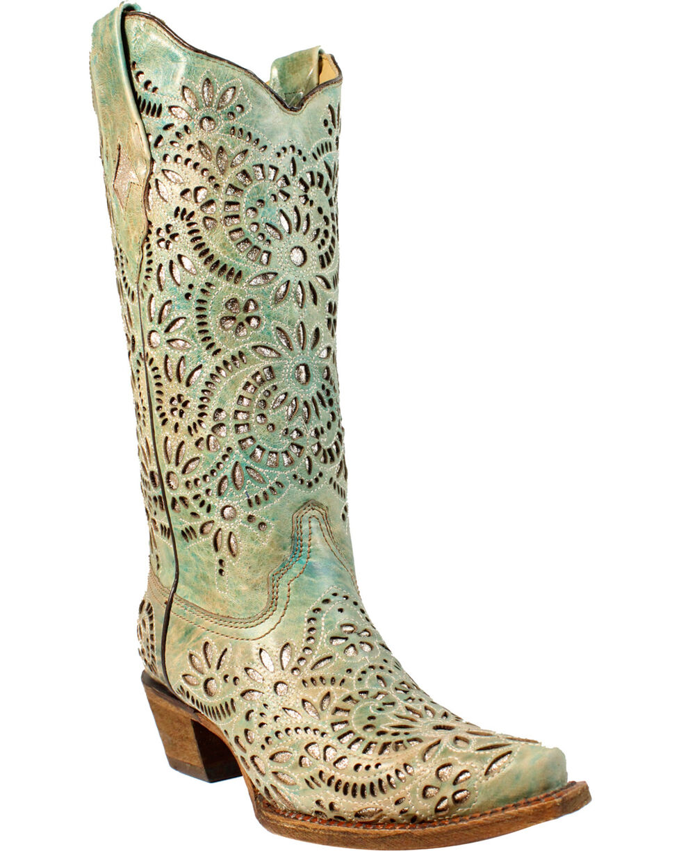 Corral Women's Blue Glitter Inlay Embroidered Cowgirl Boots - Snip Toe, Blue, hi-res