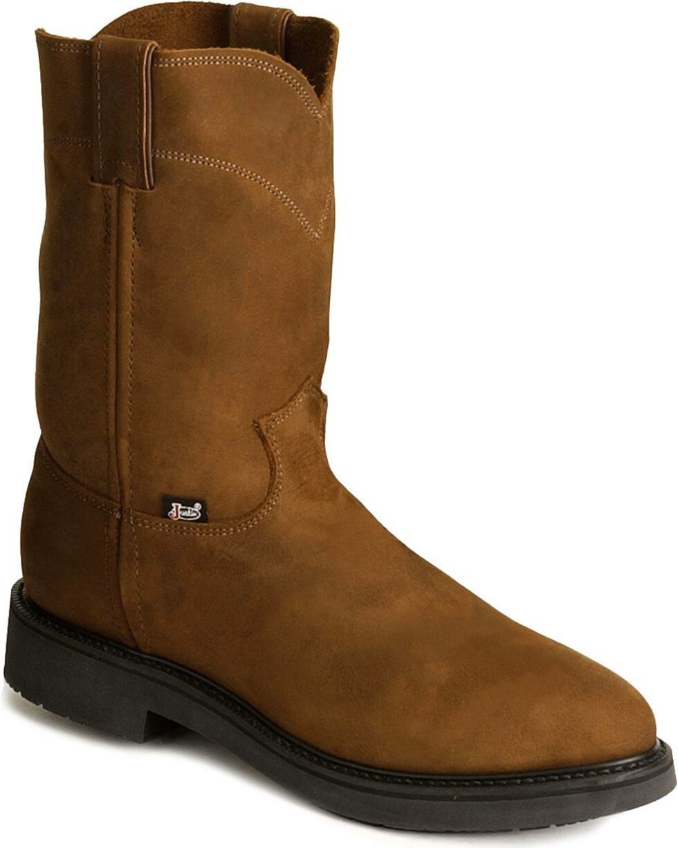 Justin Men's Conductor Electrical Hazard Pull-On Work Boots - Soft Toe, Brown, hi-res