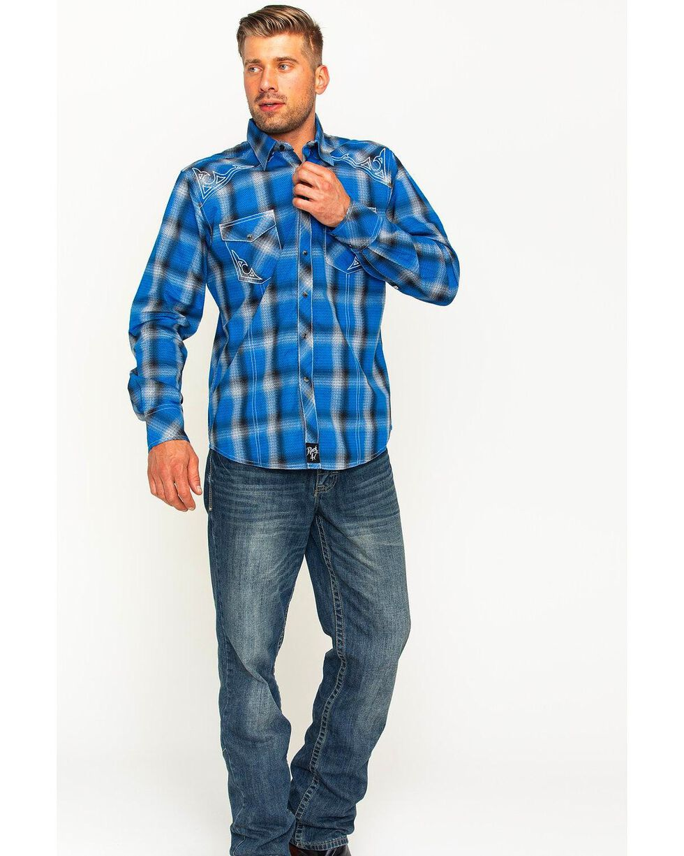 Wrangler Rock 47 Men's Plaid Two Pocket Snap Shirt, Blue, hi-res