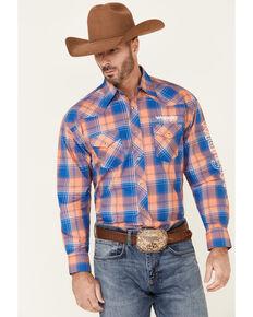 Wrangler Men's Orange Large Plaid Logo Long Sleeve Snap Western Shirt , Orange, hi-res