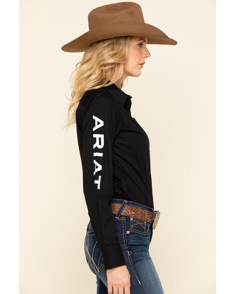 Ariat Women's Black Team Kirby Stretch Logo Long Sleeve Shirt, , hi-res