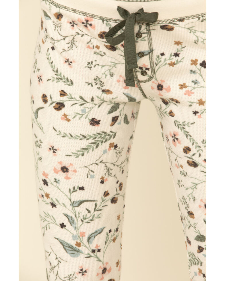 PJ Salvage Women's Floral Fleece Pajama Bottoms, Ivory, hi-res
