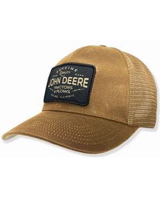 John Deere Men's Tan Tractors & Plows Lightning Patch Mesh-Back Trucker Cap , Brown, hi-res