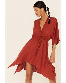 Luna Chix Women's Rust Dolman Hanky Hem Dress, Rust Copper, hi-res
