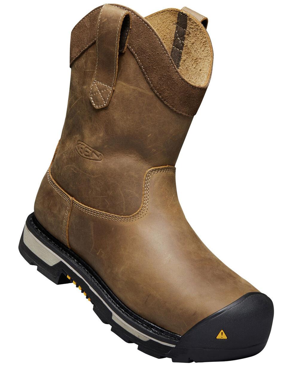 Keen Men's Oakland Waterproof Western Work Boots - Steel Toe, Brown, hi-res