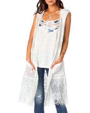 Miss Me Women's Sleeveless Hooded Fashion Duster, White, hi-res