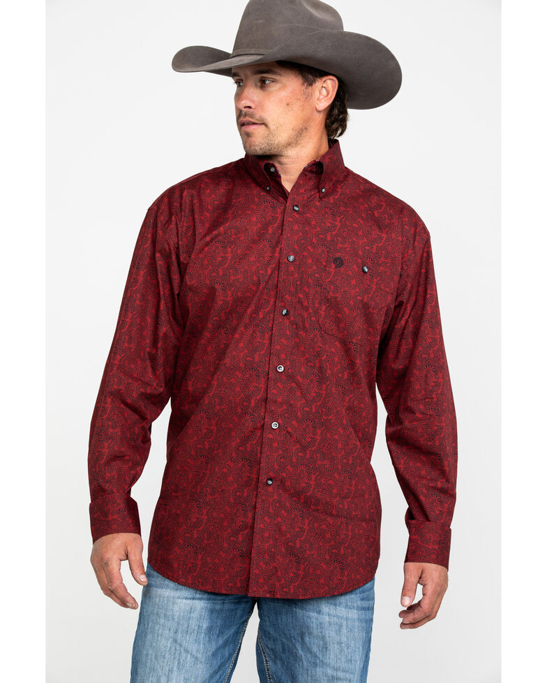 George Strait By Wrangler Men's Multi Geo Print Button Long Sleeve Western Shirt - Big & Tall , , hi-res