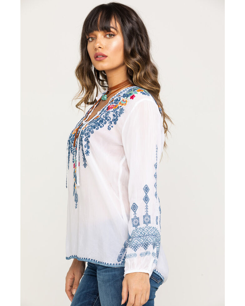 Johnny Was Women's Chelsee Blouse, White, hi-res