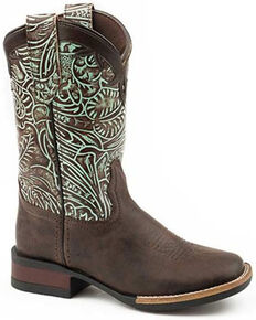 Roper Girls' Green Monterey Swirls Oiled Leather Western Boot - Square Toe , Brown, hi-res