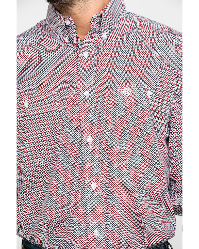 George Strait by Wrangler Men's Red Geo Print Long Sleeve Western Shirt - Big & Tall , Red, hi-res