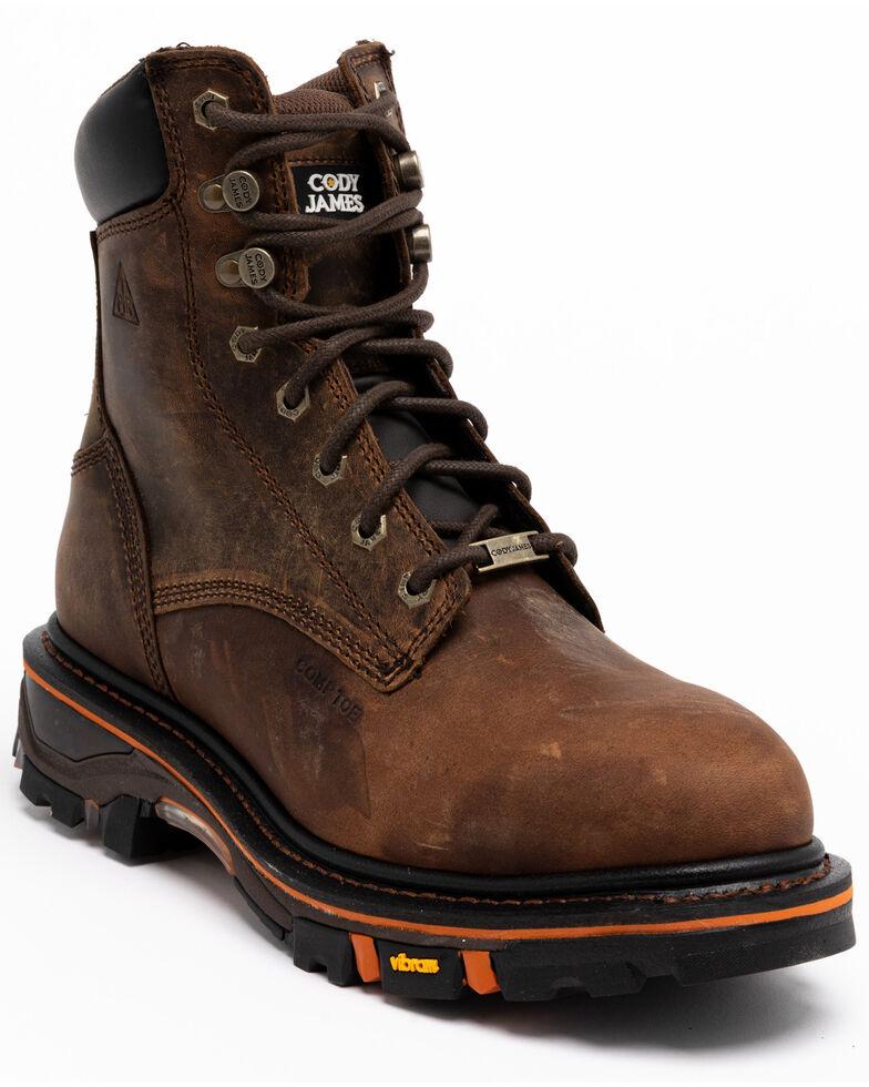 "Cody James Men's 8"" Decimator Work Boots - Composite Toe, Brown, hi-res"