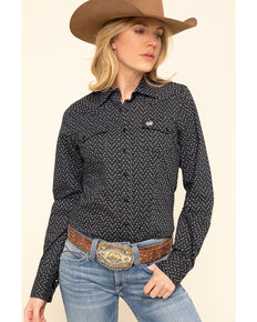 Cinch Women's Black Geo Print Snap Long Sleeve Western Shirt, Black, hi-res