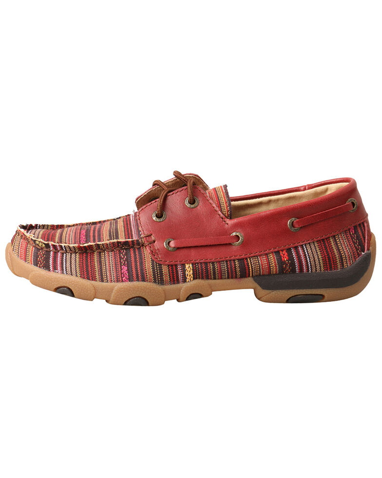 Twisted X Women's Driving Moccasin Shoes - Moc Toe, Red, hi-res