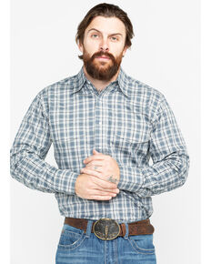 Wrangler Men's Wrinkle Resist Grey Plaid Long Sleeve Western Shirt, Grey, hi-res