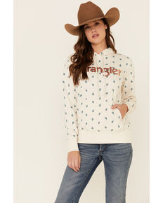 Wrangler Women's Oatmeal All-Over Cactus Print Hooded Sweatshirt , Oatmeal, hi-res