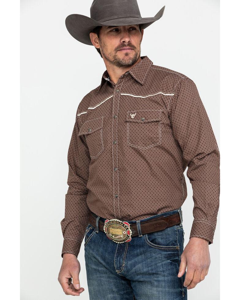 Cowboy Hardware Men's Two Tone Diamond Print Long Sleeve Western Shirt , Chocolate, hi-res