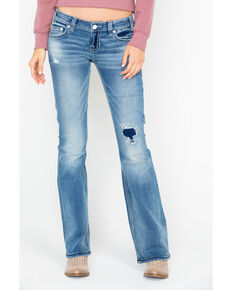 Rock & Roll Cowgirl Women's Curved Ivory Embroidered Leather Boot Jeans  , Light Blue, hi-res