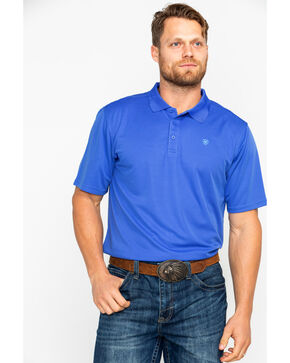 Ariat Men's Solid Tek Amparo Short Sleeve Polo Shirt , Blue, hi-res