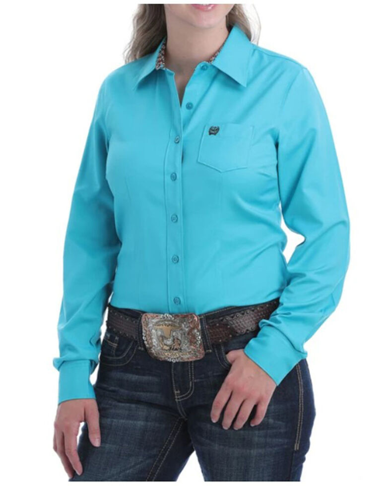 Cinch Women's Solid Teal Button Long Sleeve Western Shirt , Teal, hi-res