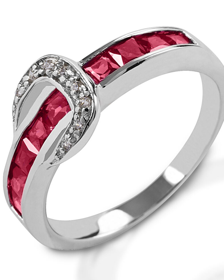 Kelly Herd Women's Small Red Contemporary Buckle Ring , Silver, hi-res