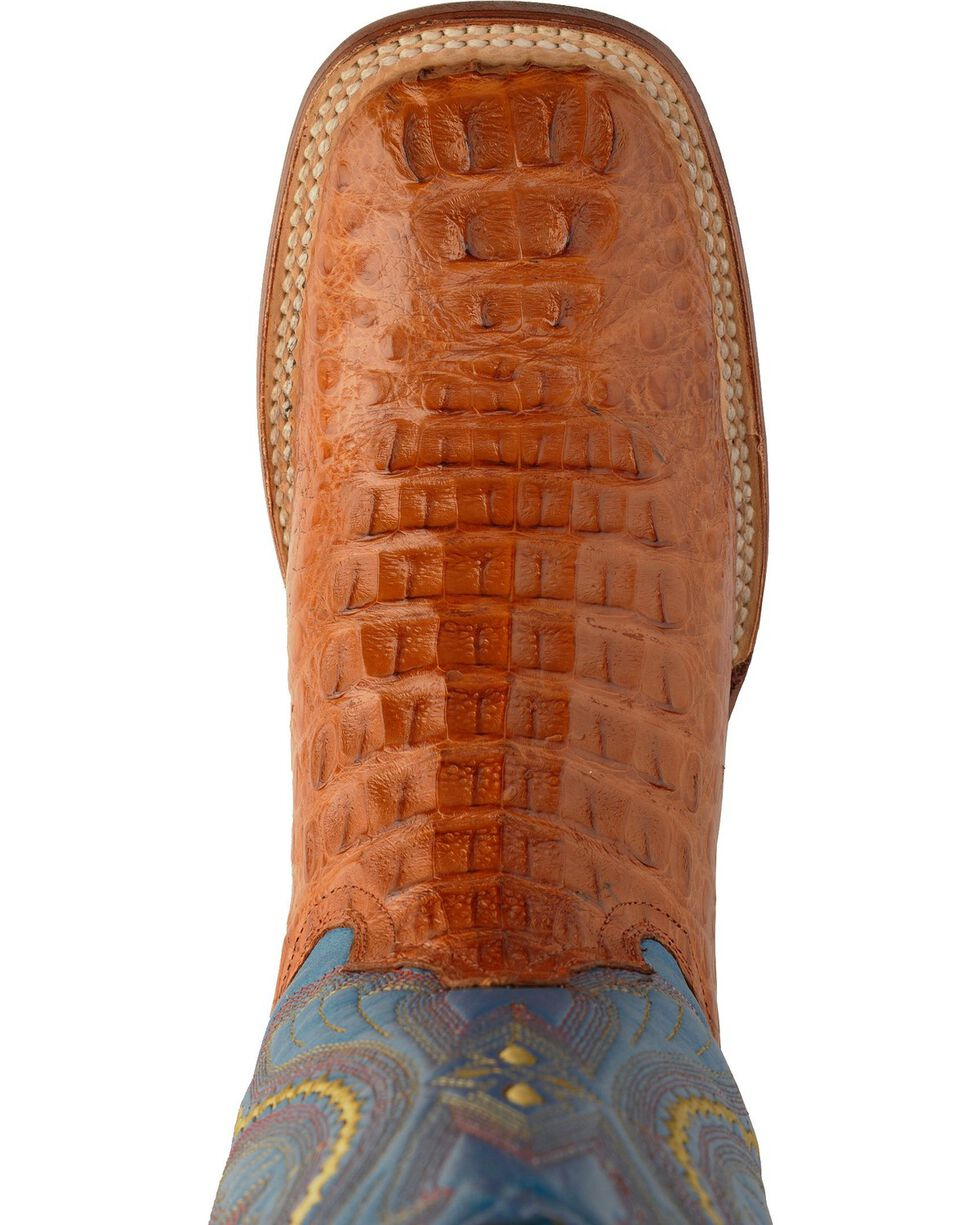 Ferrini Caiman Tail Blue Embroidered Cowboy Boots - Square Toe, Cognac, hi-res
