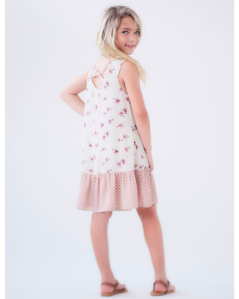 Idol Mind Girls' Mixed Print Cross Back Dress, , hi-res
