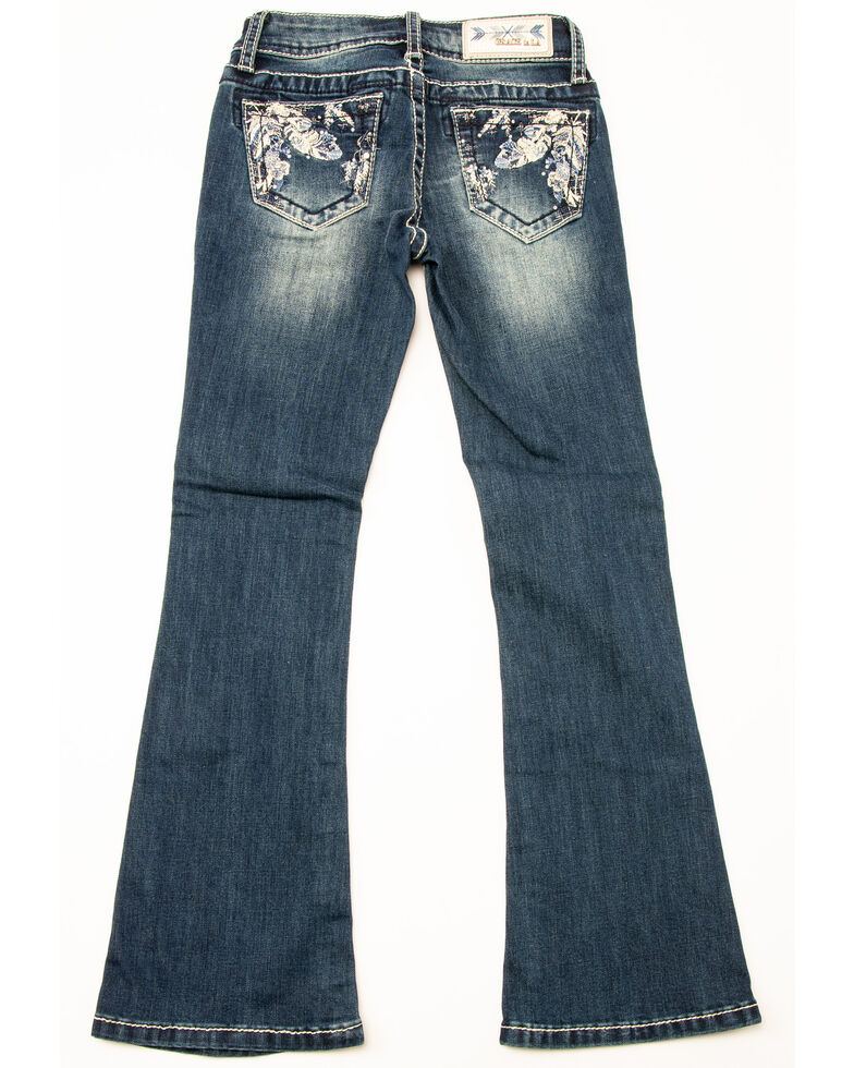 Grace in LA Girls' Feather Pocket Bootcut Jeans, Blue, hi-res