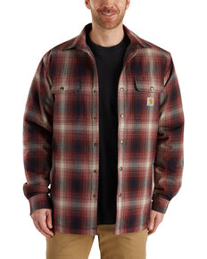 Carhartt Men's Hubbard Sherpa-Lined Shirt Jacket, Chestnut, hi-res