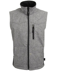 STS Ranchwear Men's 4X Light Leather Barrier Vest - Big , Heather Grey, hi-res