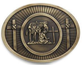 AndWest Men's Antique Brass Praying Cowboy Belt Buckle, Brass, hi-res