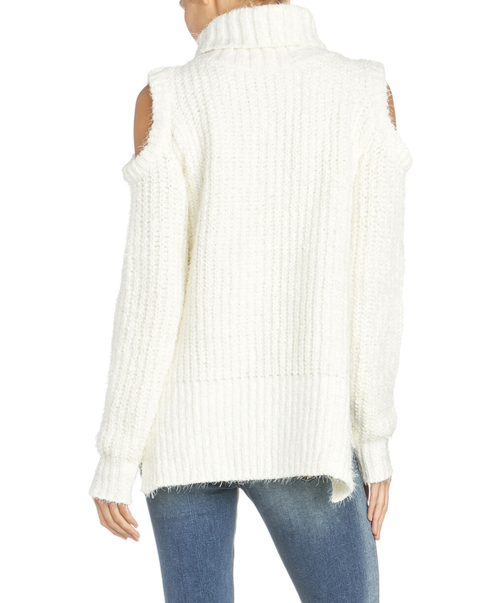 Miss Me Women's Braided Cold Shoulder Sweater, White, hi-res