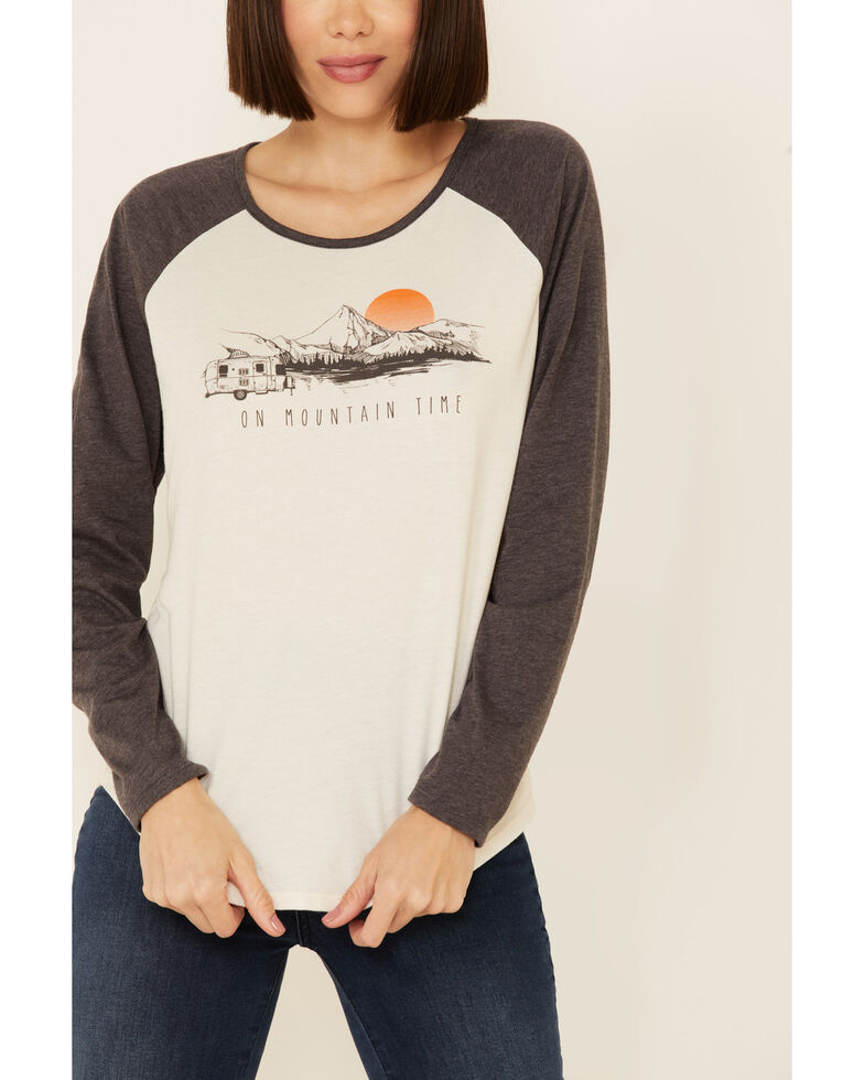 Cut & Paste Women's On Mountain Time Graphic Raglan Long Sleeve Tee , Oatmeal, hi-res