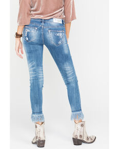 Grace in LA Frayed Hem Destructed Jeans - Skinny , Medium Blue, hi-res