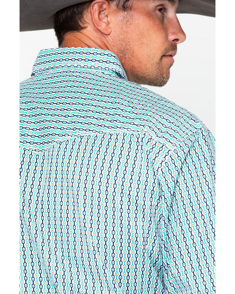Wrangler 20X Men's Turquoise Geo Print Competition Advanced Comfort Long Sleeve Western Shirt, Turquoise, hi-res