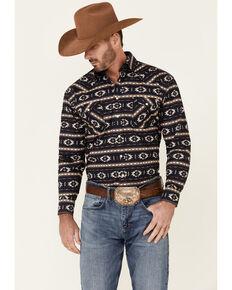 Rough Stock By Panhandle Men's Horizontal Aztec Print Long Sleeve Snap Western Shirt , Charcoal, hi-res