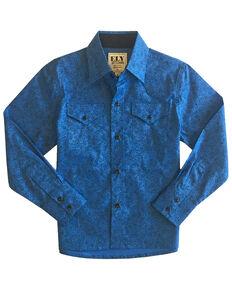 Ely Walker Boys' Cobalt Paisley Print Long Sleeve Western Shirt , Blue, hi-res